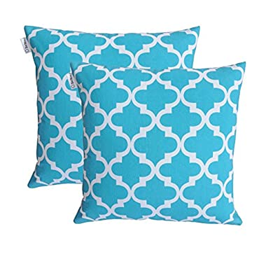TreeWool, Cotton Canvas Trellis Accent Decorative Throw Pillowcases (Pack of 2 Cushion Covers; 18 x 18 Inches; Turquoise & White)