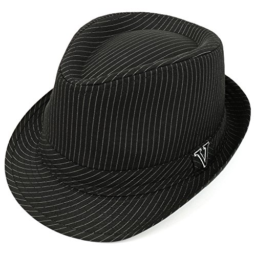 Trendy Apparel Shop Thin Pinstriped Fedora Hat With V Embroidered Hat Band - Black - LXL -