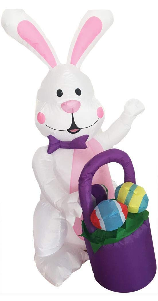 Morris Inflatable Bunny with Basket Decoration