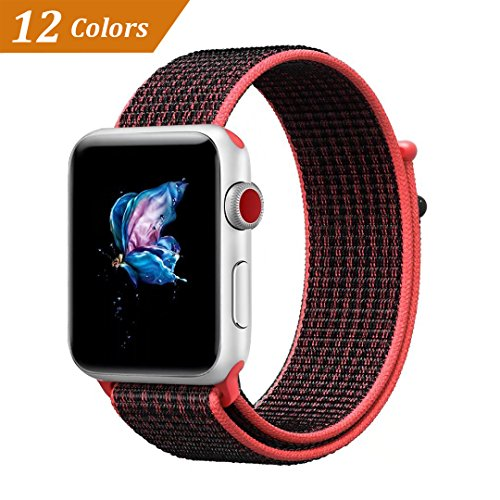 Price comparison product image QIENGO Qifit New Nylon Sport Loop with Hook and Loop Fastener Adjustable Closure Wrist Strap Replacment Band for iwatch Apple Watch Series 1 /2 / 3,42mm,Red Black