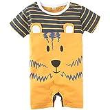 BIG ELEPHANT Baby Boys 1 Piece Cute Animal Print Short Sleeve Romper Jumpsuit K86, Yellow, 12-18 Months(95)