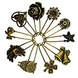 Bronze Ton Safety Pins - Pistha 10 PCS Decorative Bronze Tone Safety Pins Brooches Jewelry Making Charms