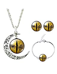 Jiayiqi Women Magic Eye of Sauron Earrings Time Gem Bracelet Crescent Moon Necklace Jewelry Set