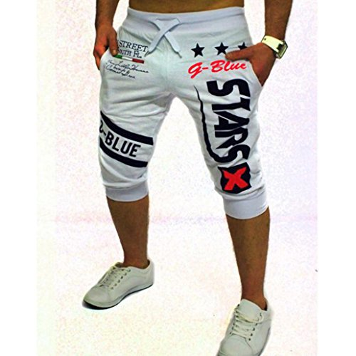 Men's Sport Pants, Fashion Printing Shorts Drawstring Elastic Waist Casual Loose Jogger Trouser (XXL, White C)