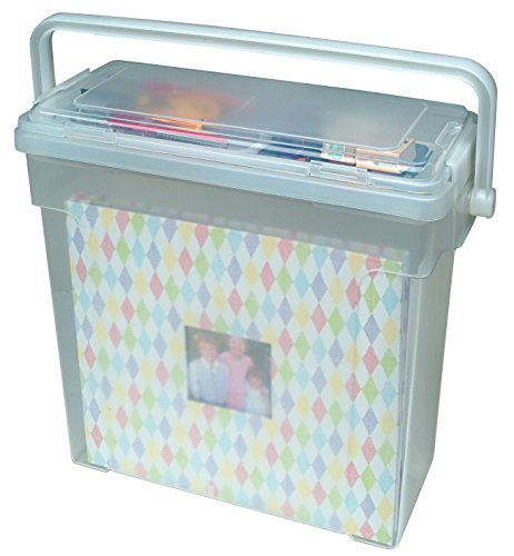 IRIS Portable Scrapbook File Box, Clear (Paper Scrapbook Tote)