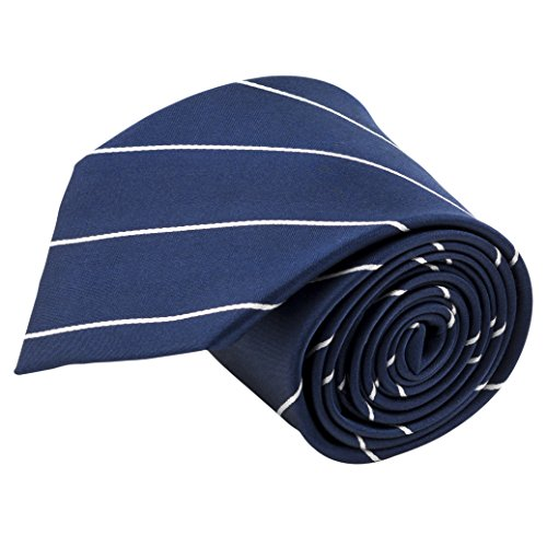 Blue Stripe Silk Tie (100% Silk Handmade Navy Blue & White Pencil Striped Tie Men's Necktie by John William)