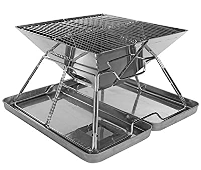 Charcoal Grill - Folding Stainless Steel Barbecue Grill for All Outdoor Adventures, Collapsible Cooker with Travel Bag and Protective Case|Portable Outdoor Cooker for BBQ's| Hiking | Beach by Wealers