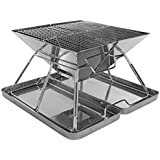 Charcoal Grill - Folding Stainless Steel Barbecue Grill All Outdoor Adventures, Collapsible Cooker Travel Bag Protective Case Portable Outdoor Cooker BBQ's  Hiking   Beach