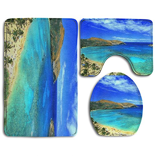 BesArts Hawaii Tropical Island Sea Blue Skidproof Toilet Seat Cover Bath Mat Lid Cover 3 Piece Non Slip Bath Rug Mats Sets For Shower SPA by BesArts