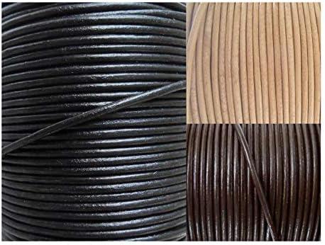 AURORIS - Lederband rund Ø 1,5 mm - Länge/Farbe wählbar - Variante: 2m / schwarz