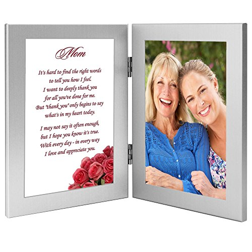 Birthday or Christmas Gift for Mom From Daughter or Son - Mom Poem in Double Frame - Add Photo (Moms Christmas Poems For)