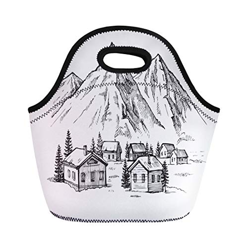 Big Game Lodge Wood - Semtomn Lunch Tote Bag Lodge Wood Cabin in Winter Landscape Mountain Sketch Alpine Reusable Neoprene Insulated Thermal Outdoor Picnic Lunchbox for Men Women