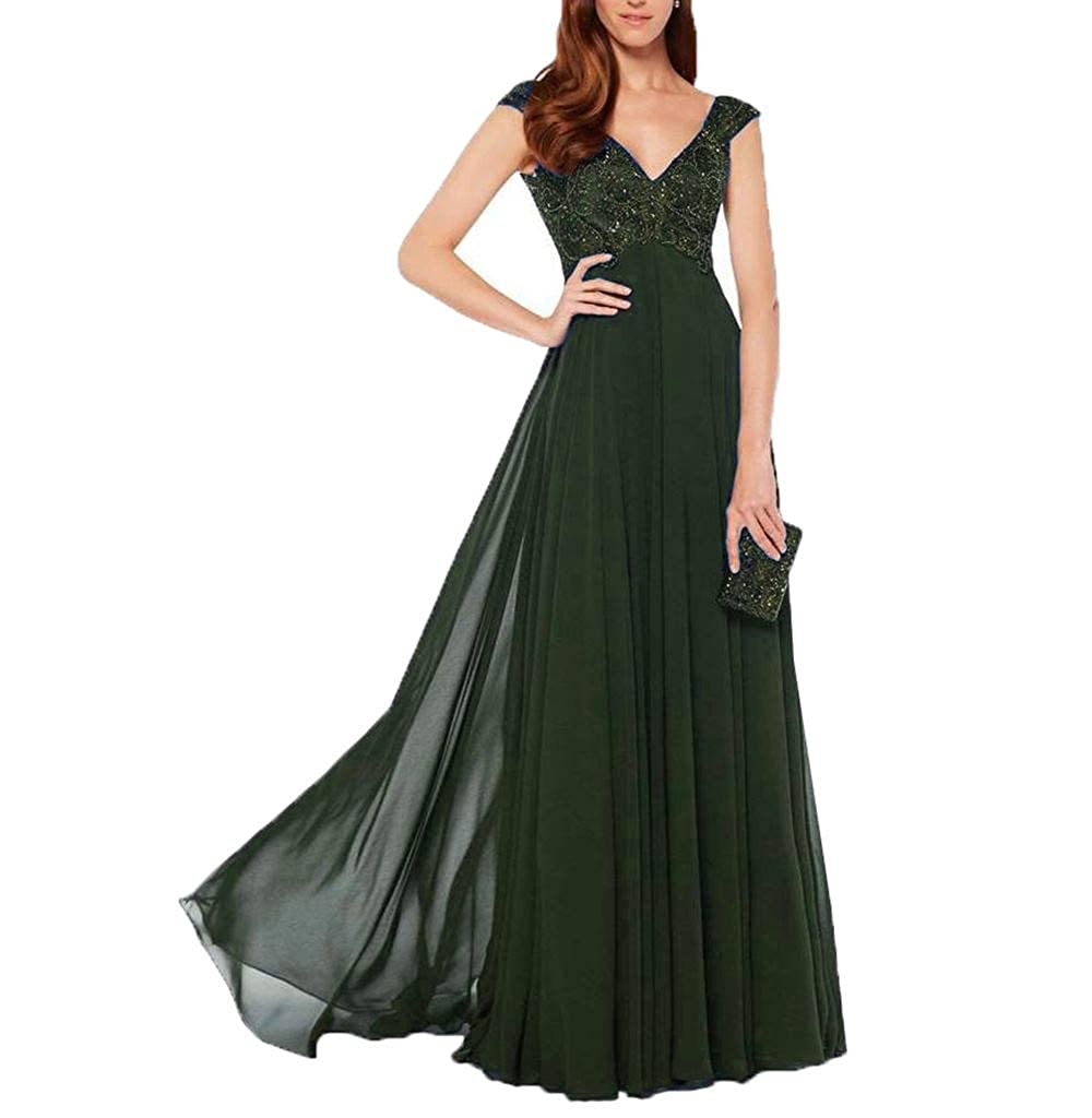 Aishanglina Women/'s V-Neck Evening Party Cocktail Dress with Embroidery Pearls Beading for Special Formal Occasions