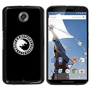 Vikingo Lobo Negro Minimalista Blanca- Metal de aluminio y de plástico duro Caja del teléfono - Negro - NEXUS 6 / X / Moto X Pro