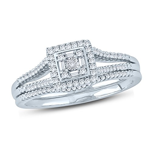 1/5 Ct Round & Baguette Diamond Halo Square Shape Split Shank Bridal Ring Sets (IJ/I2) ()