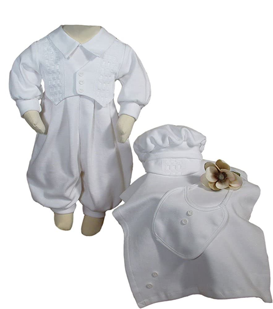 White Long Sleeve Boys Cotton Interlock Preemie Christening or Burial 4 Piece Set