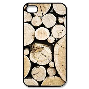 DIY Cover Case with Hard Shell Protection for Iphone 4,4S case with Wood Texture lxa#237079