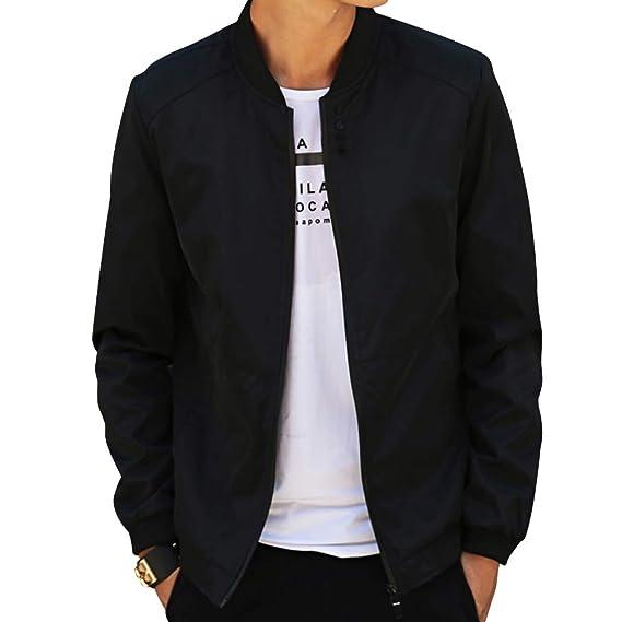 672113081e47 MyMei Men s Casual Jacket Stand Collar Zipper Design Regular Coat Spring  Autumn Windbreaker Outerwear  Amazon.in  Clothing   Accessories