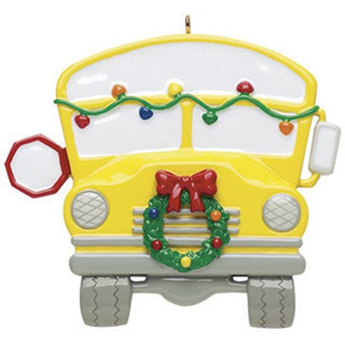 Personalized School Bus Christmas Ornament - Yellow Transit Garnished with Lights Wreath - Driver Students Best Children Love Learning American - First Day Worker Kids Teacher - Free Customization