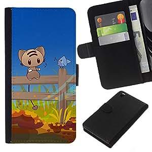 KLONGSHOP // Tirón de la caja Cartera de cuero con ranuras para tarjetas - Cute Cat & Bird Amigos - HTC DESIRE 816 //
