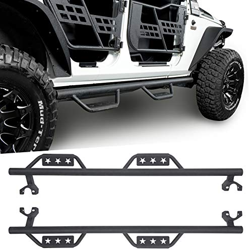u-Box 4-Door Running Board Wide Drop Side Steps Nerf Bar Solid Steel for Jeep Wrangler JK Unlimited 2007-2018