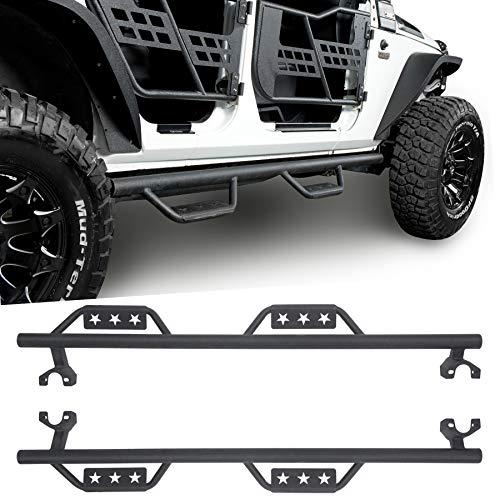 u-Box 4-Door Running Board Wide Drop Side Steps Nerf Bar Solid Steel for Jeep Wrangler JK Unlimited 2007-2018 ()