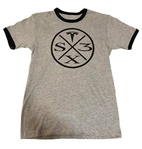(GIFT4000 Tesla Shirt Circle with Tesla T Model S X 3 Mens (X-Large, Ringer Silver Metallic))