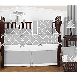 Sweet Jojo Designs Modern Gray and White Trellis Baby Bedding 9 Piece Boy Lattice Print Crib Set