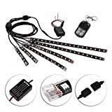 niceEshop(TM) 6pcs Motorcycle LED Light Kit Million Color Flexible Accent Glow Neon Strips with Wireless Remote Controller for Car SUV Truck Bike ATV Interior Exterior