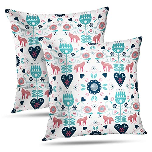 (Hdmly Fox Floral Decorative Throw Pillow Cover Cushion Covers Repeat Folk Art with Fox and Hearts Flowers Animal Set of 2 Throw Square Pillowcase for Home Decor Couch Sofa 18