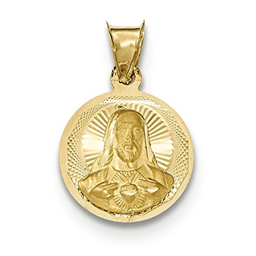 14K Yellow Gold Sacred Heart of Jesus Round Medal Charm Pendant