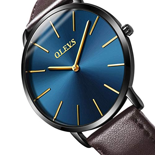 Mens Light Ultra Slim Watches Fashion Business Casual Blue Faced Brown Leather Band Wrist Watches, Waterproof 98ft Import Battery Quartz, Easy Read Big Face