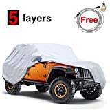 KAKIT 5 Layers Jeep Cover for Jeep Wrangler CJ,YJ, TJ,& JK 2 Door 1987-2017, Waterproof Windproof Dustproof All Weather Prevention Car Cover for Jeep, Windproof Ribbon & Anti-theft Lock