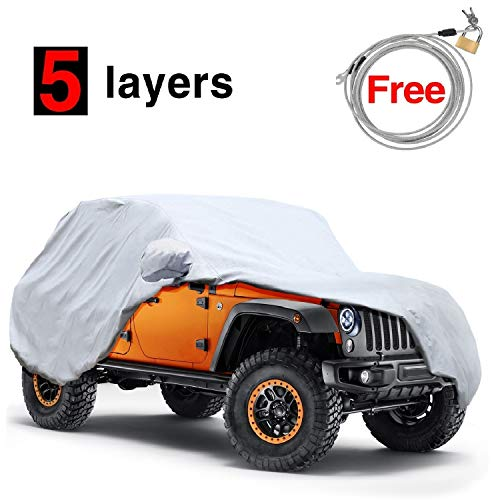 (KAKIT 5 Layers Jeep Cover for Jeep Wrangler CJ,YJ, TJ,& JK 2 Door 1987-2017, Waterproof Windproof Dustproof All Weather Prevention Car Cover for Jeep, Windproof Ribbon & Anti-theft Lock)