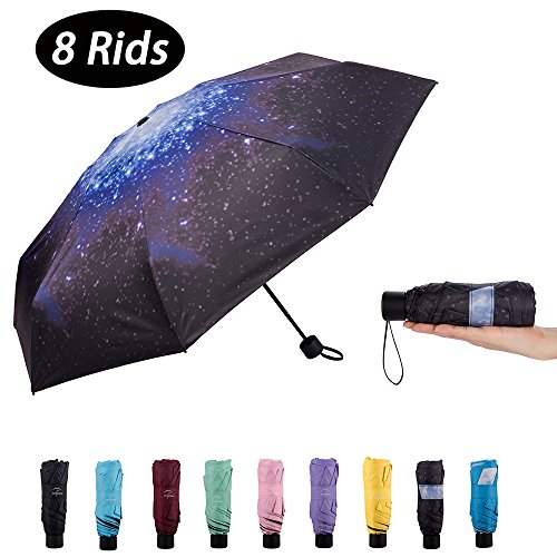NOOFORMER mini Travel sun&rain Umbrella (6&8 Rids)- Light Compact Parasol 95% UV Protection Men Women Multiple Colors by NOOFORMER