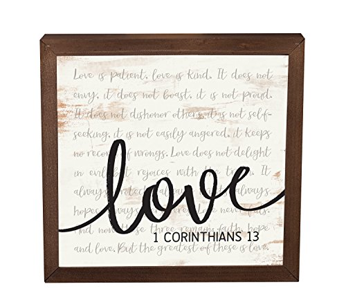 P. Graham Dunn Love is Patient Kind 11 x 11 Inch Solid Pine Wood Farmhouse Frame Wall Plaque