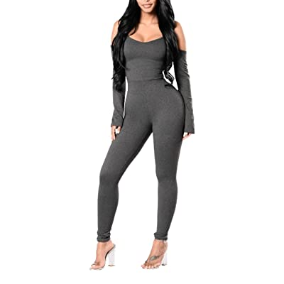 Pink Queen Womens Bare Shoulder Strappy Long Sleee Fall Loungewear Jumpsuits Grey: Clothing