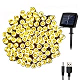 woohaha Solar Fairy String Lights Outdoor Waterproof, 72ft 200LED Updated Version 6hrs Timer Function with USB Cable Solar Powered Starry String Lights for Christmas Patio Garden Party(warmwhite)