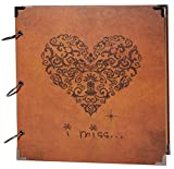 SiCoHome Photo Album Scrapbooking with Scrapbook Storage Box,Supplies and Sheet Protectors,Heart Printed Surface