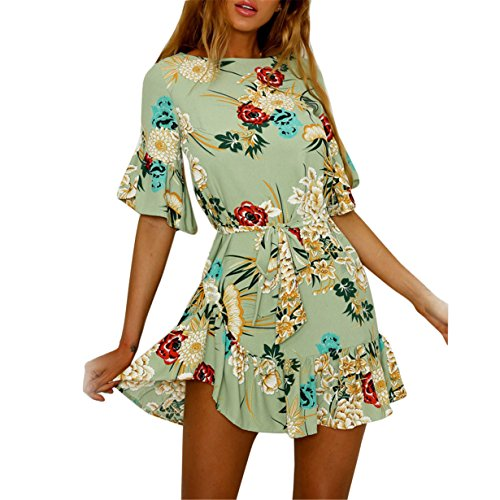 (Londony ❤ HOT SALE Summer Butterfly Sleeve Summer Bohemia Floral Graphic Flare Sleeve Pleated Mermaid Dress (Green❤️, M))