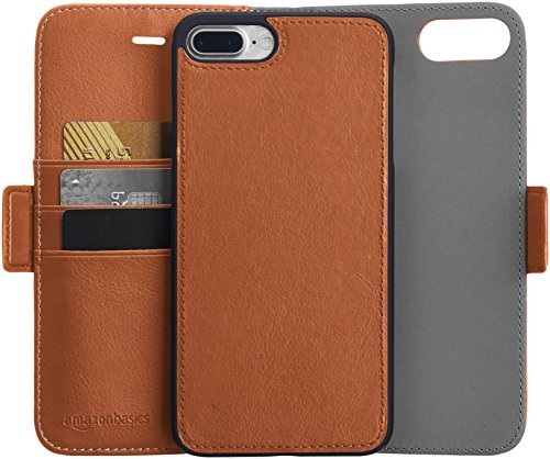 AmazonBasics iPhone 8 Plus / 7 Plus PU Leather Wallet Detachable Case, Brown