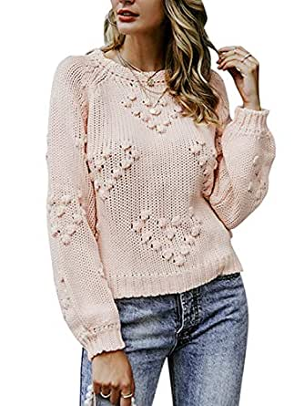 9ee1b69663d35c Simplee Women's Casual Long Sleeve Loose Pullover Knit Sweater ...