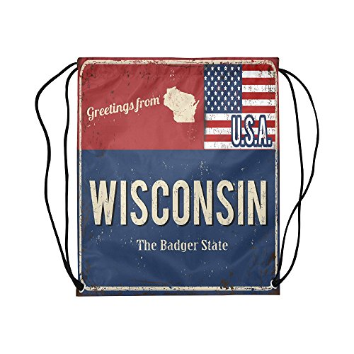 (INTERESTPRINT Wisconsin State Vintage Rusty Metal Sign with American Flag Drawstring Sports Backpack Gym Backpack Knapsack Sock Pack Waterproof Polyester for Kids Men and Women)