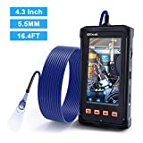 Industrial Endoscope, Oiiwak Borescope with 5.5mm Micro Inspection Camera 1080P, Waterproof Semi-Rigid Gooseneck 4.3inch LCD Screen 6 LED Lights, Tool Box(5m/16.4ft)
