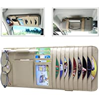 RAYSUN Gunuine Leather Auto Vehicle Sun Visor Organizer with 9 CD Slots + 4 Credit Card Pockets + 1 Glasses Holder + 1 Pen Holder + 1 Money Pocket