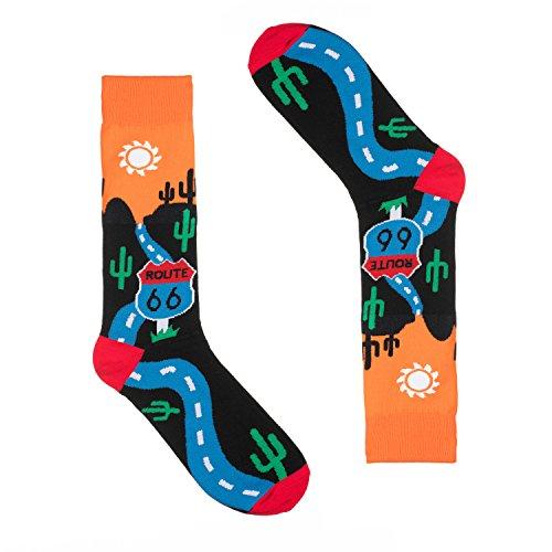 Novelty Socks for Men - Fun Colorful Dress Socks - Premium Cotton - Size 8-13 (One Pair) (Route 66)