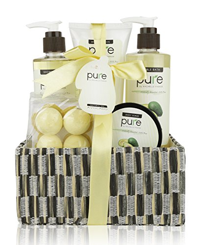 [Avocado Oil Spa Gift Basket. Natural Spa Basket with Bath Bombs, Bubble Bath, Shower Gel & Body Lotion Gift Set. Best Birthday Gift for Women!] (Need Gift Basket Supply)