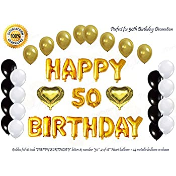 Shiny Golden Happy 50th Birthday Decorations Bundle 16Inch Gold Letter Foil Balloons 2 Heart