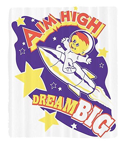 Chaoran 1 Fleece Blanket on Amazon Super Silky Soft All Season Super Plush Outerpace Decor Collection Aim High Dream Big Message with Happy Kid inpaceship Fun Children Art Fabric et Purple Amethyst