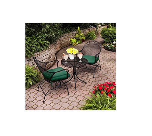 Clayton Court 3 Piece Motion Chairs & Table Outdoor Furniture Bistro Set, Green, Seats 2 Review